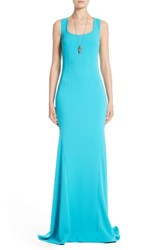 St. John Women's Collection Stretch Cady Cross Back Gown
