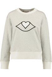 See By Chloe Appliqued Cotton Jersey Sweater Gray