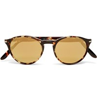 Persol Round Frame Acetate Mirrored Sunglasses Brown