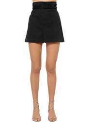 Etoile Isabel Marant Rike High Waist Canvas Shorts Black