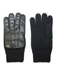 Replay Leather Knit Gloves Black