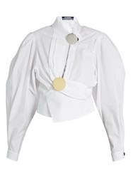Jacquemus Gigot Sleeve Wrap Cotton Blouse White