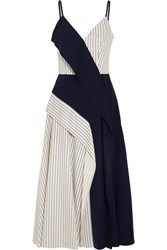 Adeam Paneled Striped Twill And Crepe Midi Dress Navy