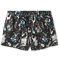 Dolce And Gabbana Mid Length Printed Swim Shorts Black