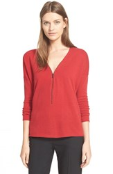 Women's The Kooples Front Zip Wool And Cashmere Sweater