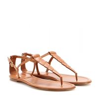 Loro Piana Paynes Leather Sandals Tobacco