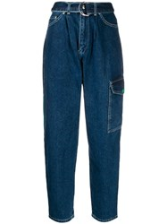 United Colors Of Benetton Carrot Fit Belted Jeans Blue