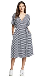 Mds Stripes Rose Wrap Dress Navy White Stripe