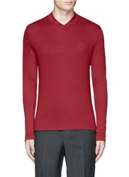 Armani Collezioni Cross Crew Neck Sweater Red