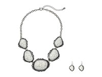 Mandf Western Large Stone Necklace Earrings Set White Jewelry Sets