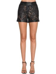 Ermanno Scervino Waxed Lace And Faux Leather Shorts Black