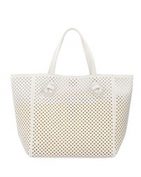 Neiman Marcus Perforated Faux Leather Tote Bag Black Pattern