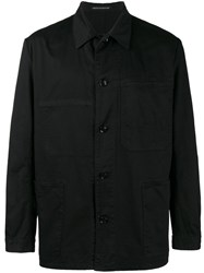 Yohji Yamamoto Work Shirt Jacket Men Cotton 2 Black