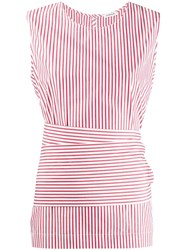 P.A.R.O.S.H. Striped Belted Shirt Red
