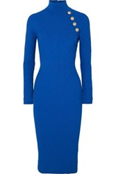 Balmain Button Embellished Jacquard Knit Midi Dress Blue