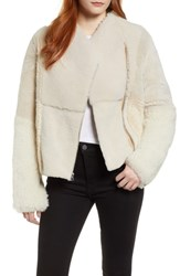 Cole Haan Patchwork Genuine Shearling Jacket Cream
