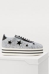 Chiara Ferragni Suite Platform Sneakers With Stars Silver Black