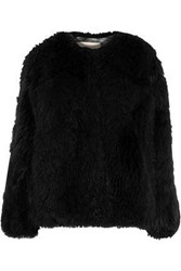 Karl Donoghue Leather Trimmed Shearling Jacket Black