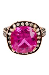 Savvy Cie 18K Rose Gold Vermeil Created Pink Sapphire And White Topaz Ring Multi