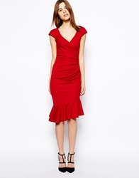 Asos Ponte Pencil Dress With Peplum Hem And Ruched Wrap