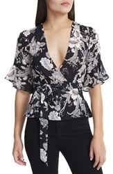 Afrm 'S Lula Wrap Top Noir Bouquet