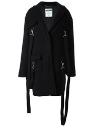 Moschino Clip Strap Detailed Coat Black
