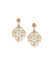 Jose And Maria Barrera Pearly Filigree Chandelier Earrings Pink