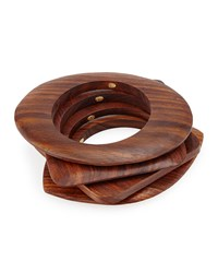 Mixed Shape Wooden Bangles Set Of 4 Women's Brown Kenneth Jay Lane