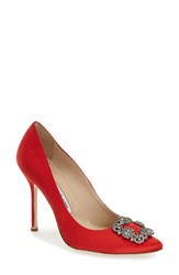 Women's Manolo Blahnik 'Hangisi' Jeweled Pump Red Satin
