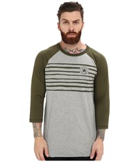 Converse Icon Stripe Raglan Tee Vintage Grey Heather Men's Short Sleeve Pullover Gray