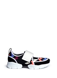 Msgm Chevron Stripe Plonge Mesh Velcro Strap Sneakers Multi Colour