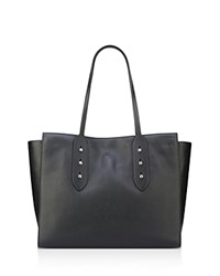 Anne Klein Julia East West Large Leather Tote Black Silver