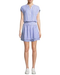Rails Angelina Striped Button Front Short Dress White Pattern