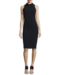 Veronica Beard Sleeveless Collared Shirtdress Black