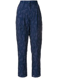 Emporio Armani Lace Applique Cropped Trousers Blue