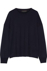 The Row Olan Wool And Cashmere Blend Sweater Navy