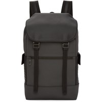 Bottega Veneta Grey Canvas Flap Backpack