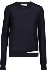 Jil Sander Cutout Cashmere And Silk Blend Sweater Midnight Blue