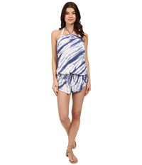 Lucky Brand Fireworks Romper Cover Up Vintage Blue Women's Swimsuits One Piece