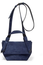 Acne Studios Musubi Milli Small Knotted Suede Shoulder Bag Navy