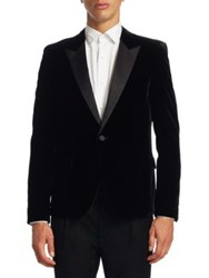 Saint Laurent Velet Slim Fit Peak Lapel Tuxedo Jacket Black