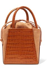 Trademark Dorthea Box Croc Effect Leather And Suede Tote Tan