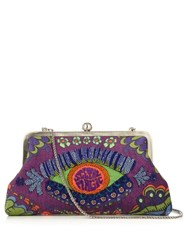 Sarah's Bag Magic Bead Embellished Clutch Purple Multi