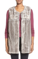 Via Spiga Long Grooved Faux Fur Vest Grey