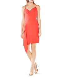 Bcbgmaxazria Asymmetrical Ruffle Panel Dress Dark Red