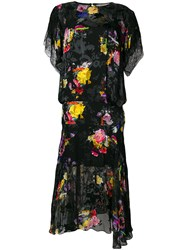 Preen By Thornton Bregazzi Leonora Floral Midi Dress Black