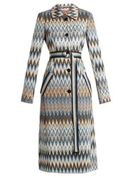 Missoni Long Zigzag Print Coat Blue Print