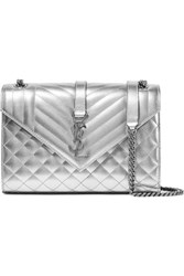 Saint Laurent Envelope Quilted Metallic Leather Shoulder Bag Silver