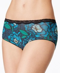 Jockey No Panty Line Promise Tactel Nylon Lace Hip Brief 1322 Blue Tropical Print