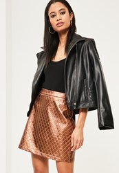 Missguided Rose Gold Faux Leather Quilted A Line Skirt
